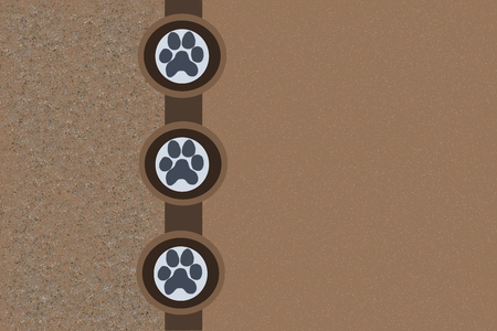 doggy paw print brown blank background stationery