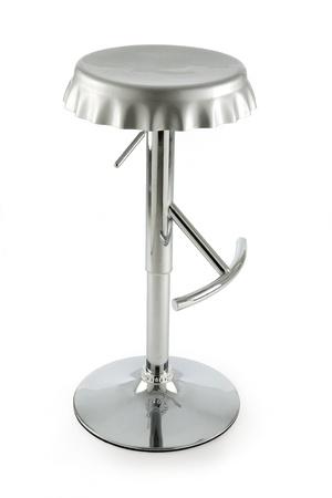 Bottle cap metal stool isolated on white background photo