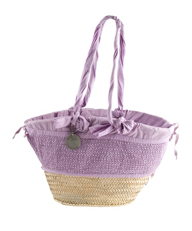 Basket tote with tied lilac fabric, isolated on white  Clipping path included  Stock Photo