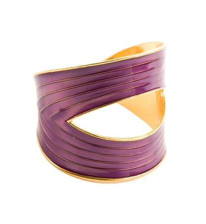 Purple and gold elegant bangle isolated on white background  Clipping path included