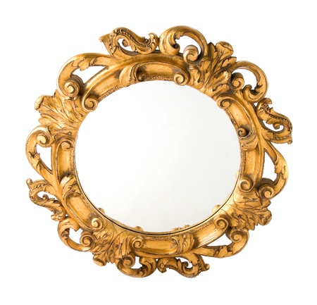 Round Carved Wood Gilded Wall Mirror isolated on white background  photo