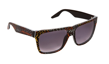black rimmed: Black rimmed sunglasses with colorful confetti pieces isolated on white background  Clipping path included  Stock Photo