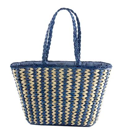tote: Blue striped basket tote, isolated on white background  Clipping path included  Stock Photo