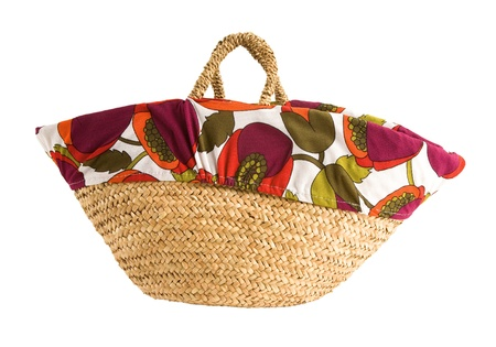 tote: Floral cover basket tote, isolated on white  Clipping path included