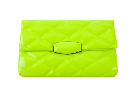 Padded fluorescent green patent leather clutch isolated on white background  Clipping path included