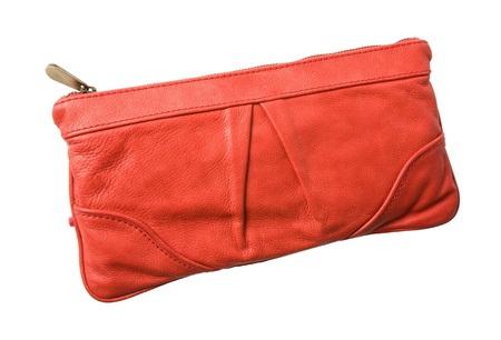 accesories: Red leather handbag isolated on white  Clipping path included  Stock Photo