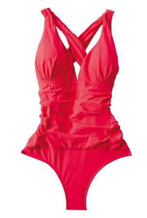 Dark pink female swimsuit, isolated on white background. Clipping path included