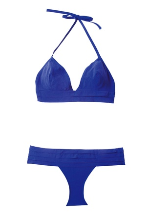 two piece swimsuits: Marine blue bikini, isolated on white background. Clipping path included,