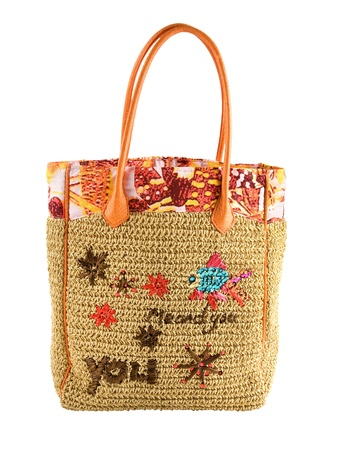 basket embroidery: Basket tote, with marine printed tote and embroidered marine ornaments and message me and you, isolated on white background. Clipping path included.