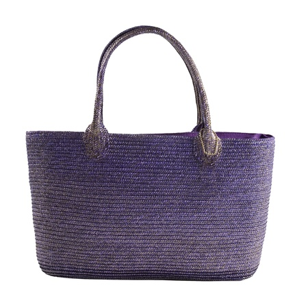 Purple metallic basket tote, isolated on white. Clipping path included.