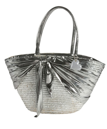 Silver basket tote with tied silver fabric, isolated on white background. Clipping path included. Stock Photo