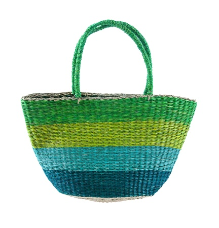 tote: Striped green and blue basket tote, isolated on white background. Clipping path included