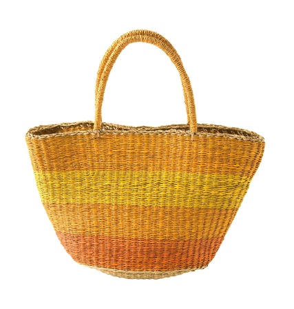 tote: Striped yellow orange basket tote, isolated on white background. Clipping path included. Stock Photo