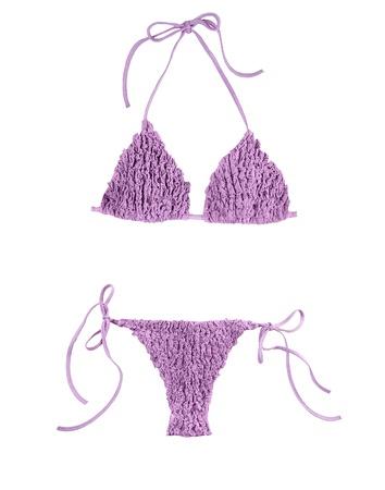 Frilly purple bikini isolated on white background