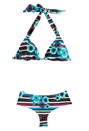 Halter stripes and flowers bikini isolated on white background. Clipping path included.