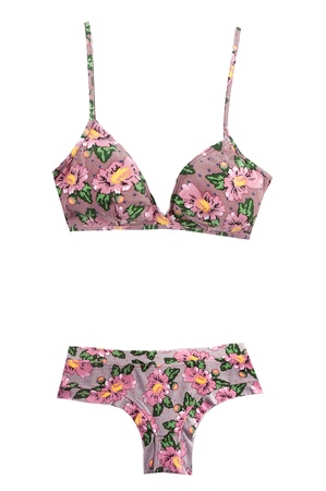 Pink flowers and stars pattern bikini isolated on white background  Clipping path included  photo