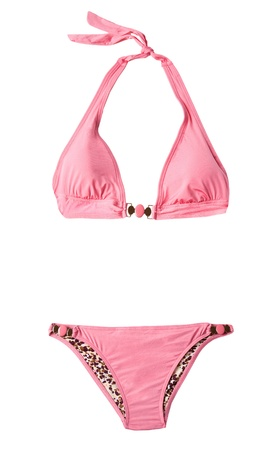 halter: Pink halter bikini isolated on white background