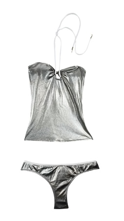 metallized: Silver metallized bikini isolated on white background  Clipping path included