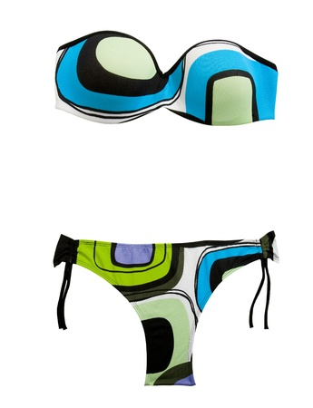 two piece swimsuits: Vintage bandeau bikini, isolated on white background  Clipping path included