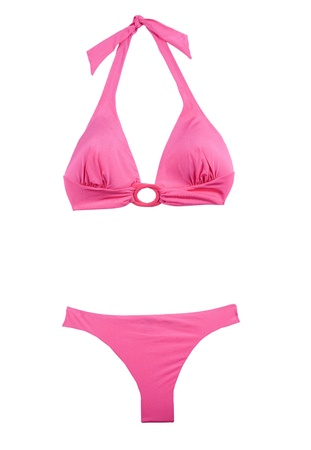 Pink halter bikini isolated on white background  Clipping path included
