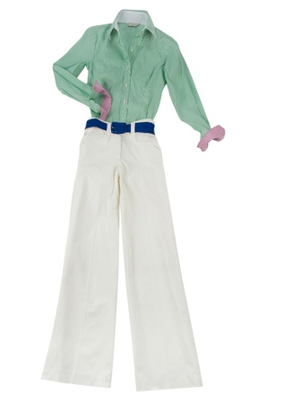 Working girl white trousers fashion look isolated on white background Stock Photo - 18607203