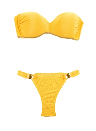 Yellow bandeau bikini with two big gems isolated on white background  Clipping path included