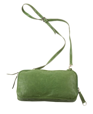 Green leather purse with shoulder strap isolated on white background