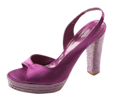 peep toe: Purple satin peep toe with raffia heel and platform, isolated on white background