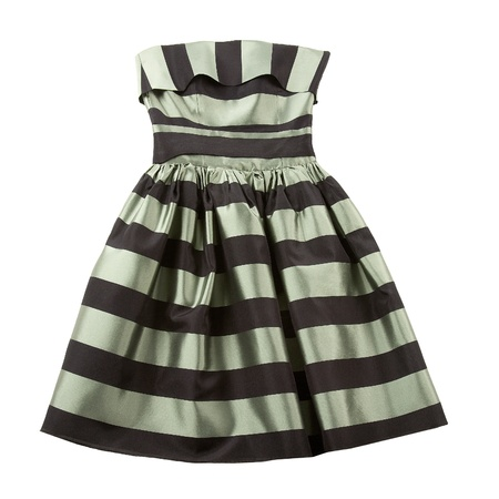 bicolor: Bicolor striped satin puffed strapless dress isolated on white background
