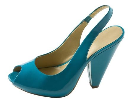 peep toe: Turquoise patent leather peep toe isolated on white background