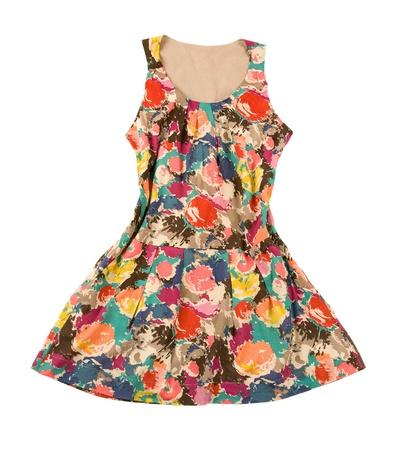 Vintage flower print sleeveless pleated dress isolated on white background Stock Photo