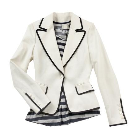 azul marino: Composici�n moda de chaqueta blanca con rayas camiseta, aislados en fondo blanco Foto de archivo