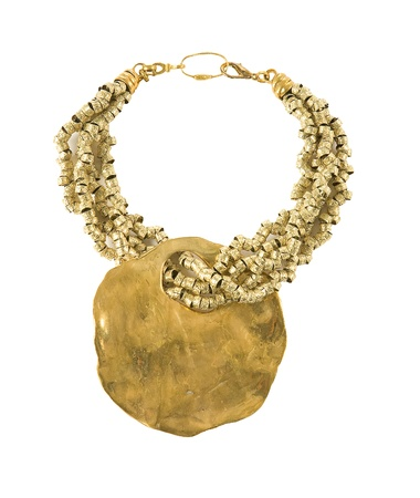 raw gold: Big raw gold pendant necklace isolated on white background