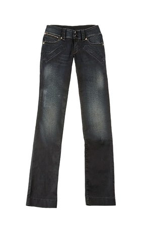 Black worn jeans, isolated on white background