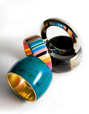 Bracelets fashion composition on white background