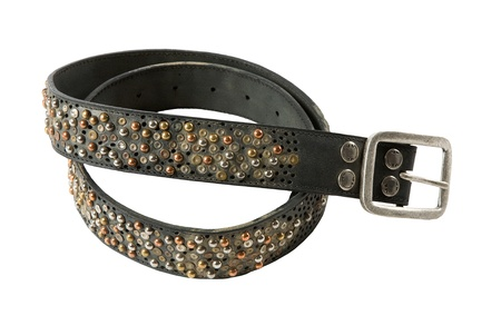 Color studs leather belt, isolated on white background photo