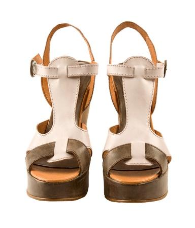 peep toe: Peep toe leather sandals isolated on white background