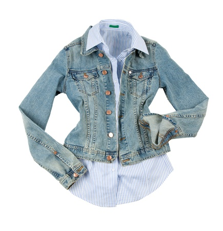 Fashion composition of denim jacket and blue striped shirt, isolated on white background.