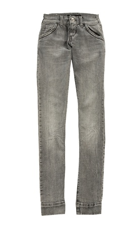 Grey skinny jeans, isolated on white background