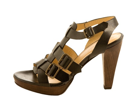 heel strap: Three buckles leather sandal isolated on white background