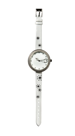 strass: White leather strass watch, isolated on white background
