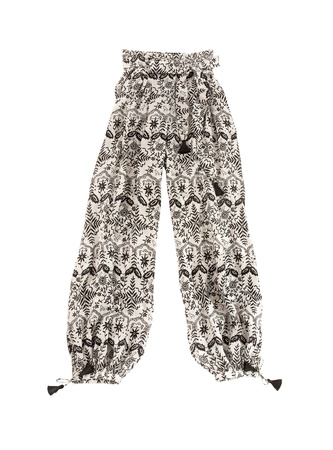 baggy: baggy pants with ethnic print and tassels, isolated on white background