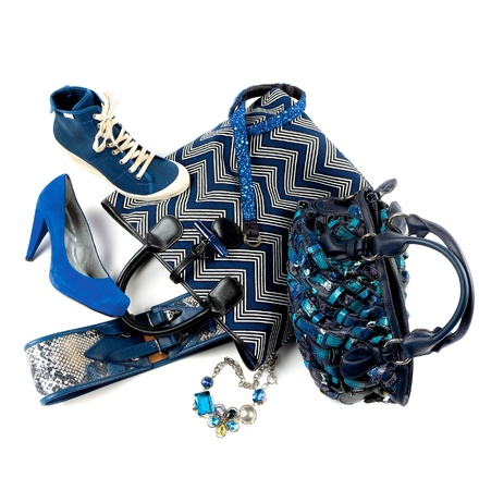 Still life composition with blue fashion objects, on white background Stock Photo