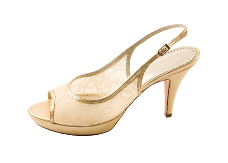 peep toe: Bridal lace golden peep toe isolated on white background. Clipping path included.