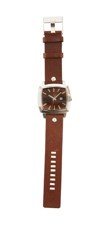 accesories: Brown leather strap watch isolated on white background. Clipping path included.