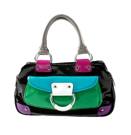 color block: Color block patent leather handbag isolated on white background. Clipping path included.