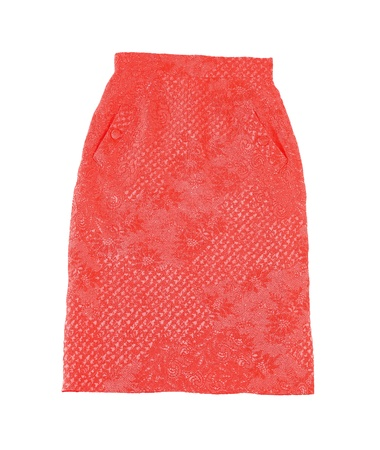 Embroidered red tube skirt isolated on white background. Clipping path included.
