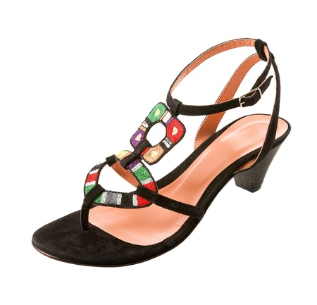 accesories: Ethnic knit heel sandal isolated on white background. Clipping path included. Stock Photo