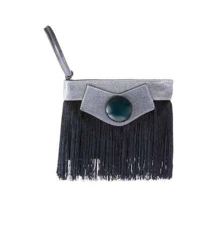 fringes: Fringy blue stingray leather handbag isolated on white background. Clipping path included.