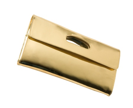 accesories: Golden leather handbag isolated on white background. Clipping path included.